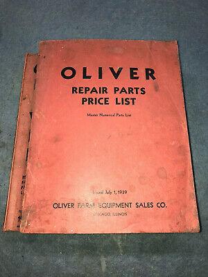 1939 Oliver Factory Repair Parts List Tractor Equipment Row Crop 70 Hart Parr 18