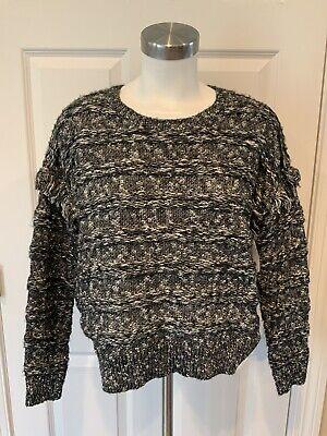 John + Jenn Black & White Texture Striped Sweater W/ Fringe, Size XS
