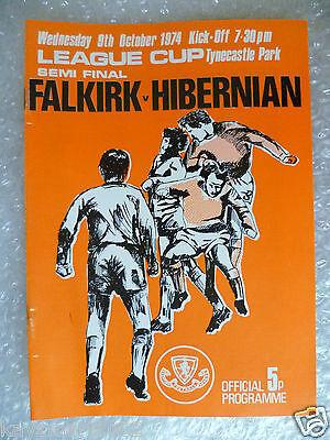 1974 League Cup Semi FINAL FALKIRK v HIBERNIAN, 9th Oct at Tynecastle Park