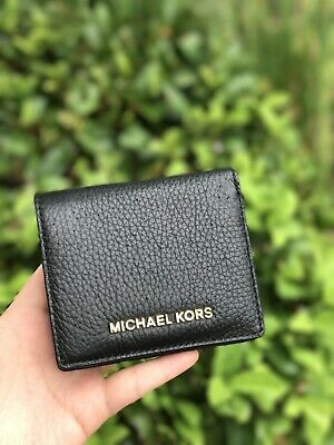NWT Michael Kors JET SET TRAVEL CARRYALL Card Case Coin Purse Wallet In Black
