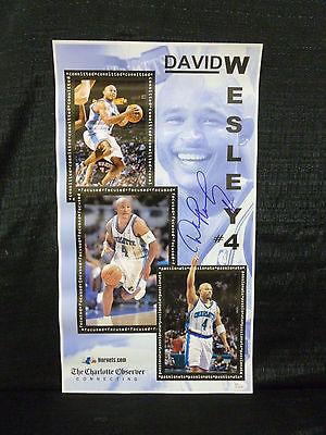 David Wesley Signed Charlotte Hornets Charlotte Observer Poster Jsa K52226