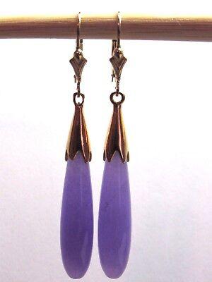 Lavender Jade Long Teardrop Dangle Leverback Earrings 14K Yellow Gold Filled