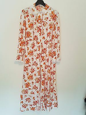 Vintage Floral Dressing Gown Orange  New Genuine 1970's Size WX Full Length NEW
