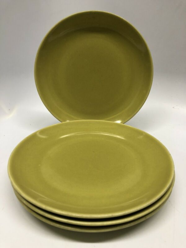 "4 Vintage Russel Wright Casual China *IROQUOIS* Chartreuse 7-3/8"" Salad Plates"