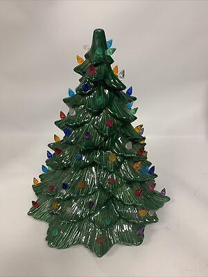 "RARE VINTAGE 1980'S DHM CERAMIC CHRISTMAS TREE TABLE TOP LIGHTED TREE 15"" TALL"