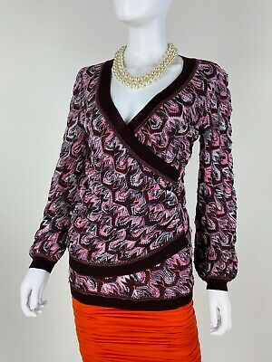 Missoni Italy New 8 US 44 IT M Wool Stretch Knit Wrap Sweater Top Runway Auth