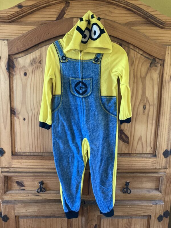 Boys Despicable Me Minion Yellow Blue One Piece Hooded Pajamas Size 8