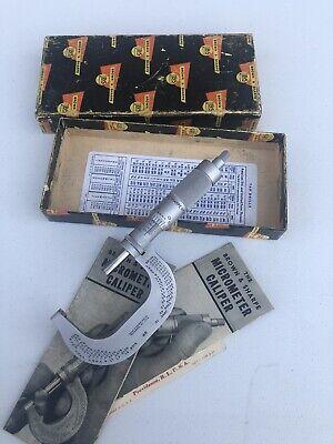 Vintage Super Nice Brown Sharpe Ratchet Outside Micrometer 0-2 Inch
