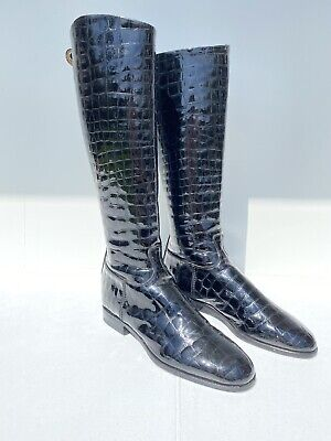 Alberto Fasciani Black Alligator Print High Boots Size 40