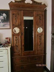 ANTIQUE KAURI PINE WARDROBE, WITH FULL LENGTH MIRROR ON DOOR Stockton Newcastle Area Preview