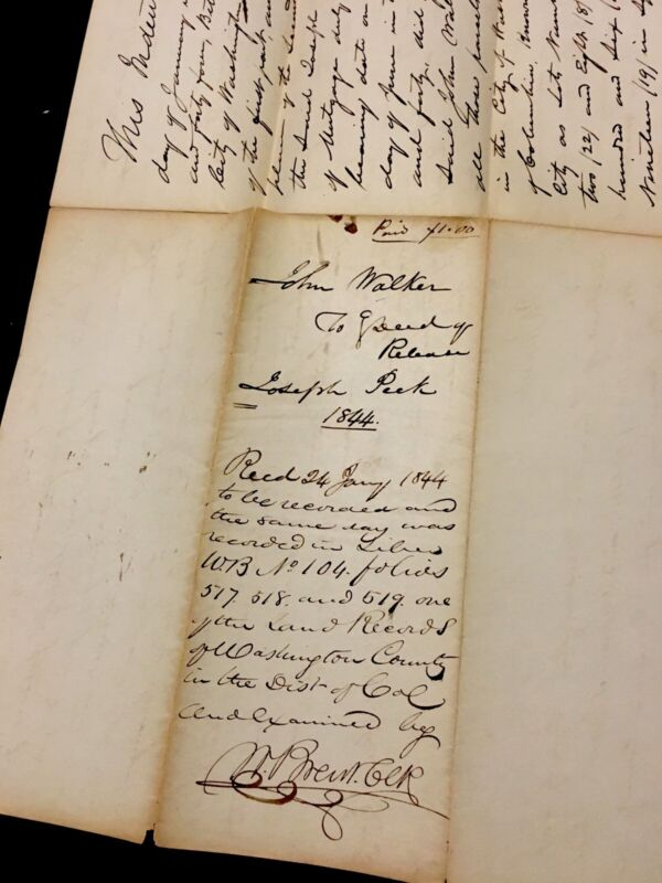 AMERICAN LEGAL DOCUMENT 1844. WASHINGTON DC