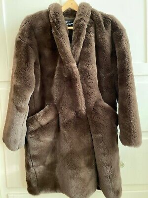 NWT Women's Abercrombie Fitch Luxe Faux Fur Brown Coat Originally $140 MEDIUM