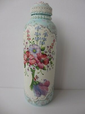 Decorative Glass Bottle Hand Painted & Decoupaged Flower Fairy, Flowers, Pastels