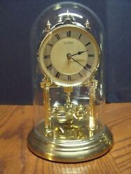 LINDEN Anniversary Clock w/Glass Dome 9 - Working condition - Germany