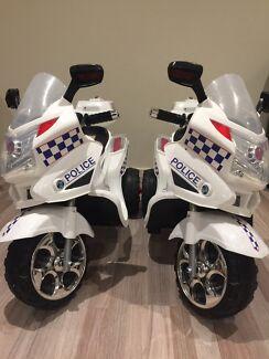 Police 6 volt Motorbike x 2