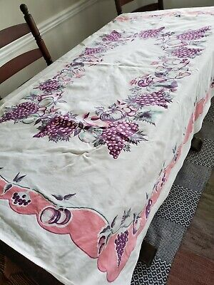 Vintage White Cotton Printed Fruit Novelty Floral Flowers Tablecloth Pink Purple