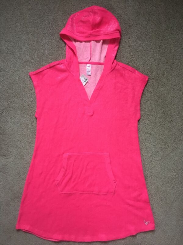 Girls Justice size 12/14 hooded Sparkle Pink swimsuit cover-up NWT