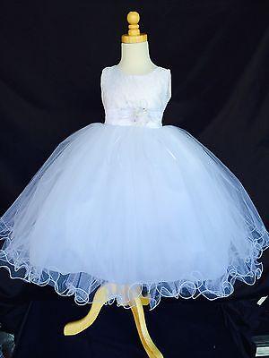White Flower Girl Bridesmaids First Communion Baptism Easter Lace Dress #15](1st Communion Dress)