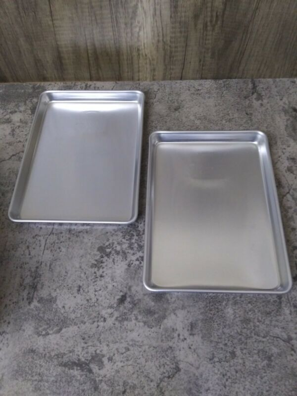 """2- Vintage Mirro Small Aluminum Pan Tray For Toaster Oven 9.25"""" x 6.5""""  USA NEW"""