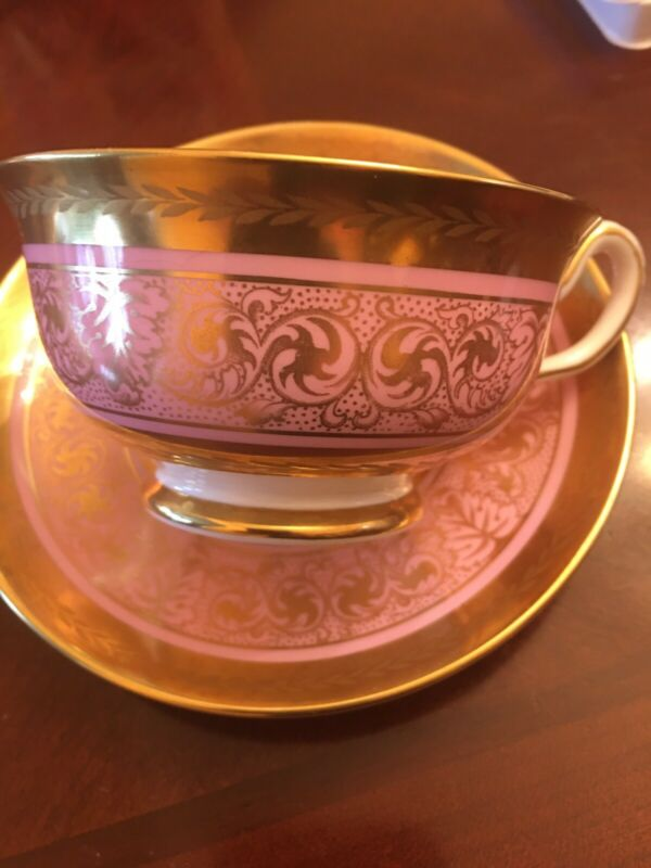 Vintage Royal Chelsea Bone China Tea Cup Saucer Pink Gold