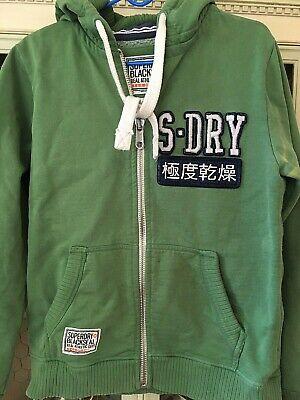 Mens Green SUPERDRY BlackSeal zip up hoodie sweatshirt sz MEDIUM