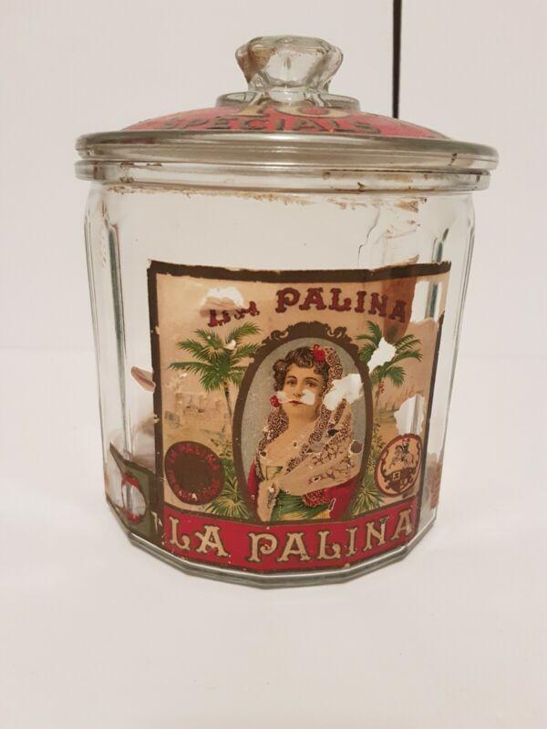 Rare La Palina General Store Glass Cigar Humidor Jar!