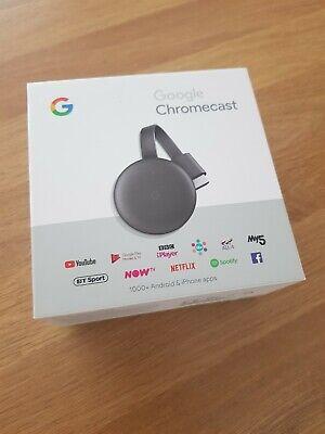 Google NC2-6A5 Chromecast 3rd Generation Charcoal Media Streamer 1080p WiFi