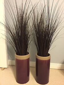 Floor vases with decorative grass