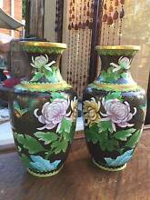 Pair of Large Vintage Chinese Enamelled Brass Cloisonne Vases West Pymble Ku-ring-gai Area Preview