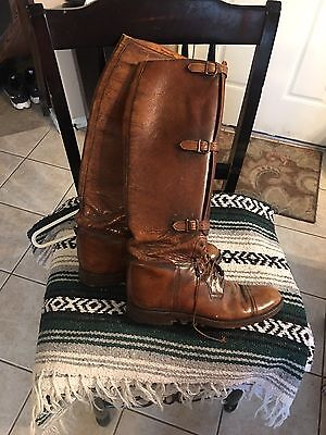 VINTAGE US ARMY LEATHER CAVALRY MEN'S RIDING BOOTS TEITZEL JONES WWI