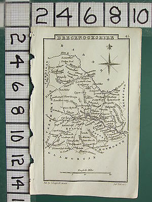 c1833 GEORGIAN MAP ~ BRECKNOCKSHIRE BRECON FOREST TALGARTH