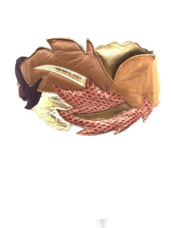 Vintage VTG 1980s 80s Brown Leather Multicolored Tie Adjustable Waist Belt