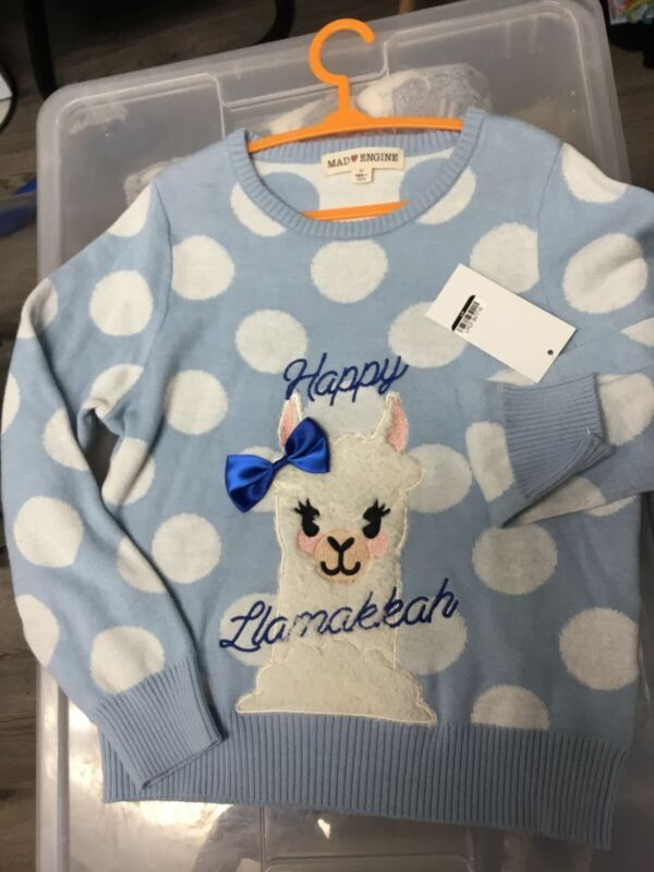 NWT Size 18 months Llama sweater polka-dot Girls pullover Mad Engine 18 mos