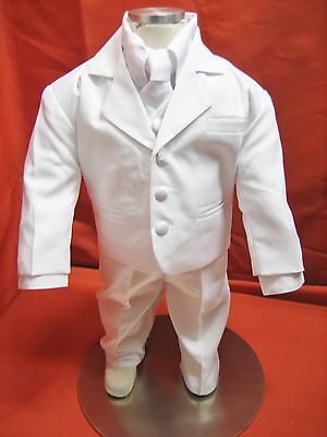 Baby Boy Christening Baptism white Suit/Wedding/Tie 5 pieces Outfit/Sizes:XS-4T (Baby Boy Baptism)