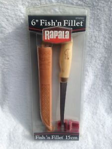 "Rapala ""Fish'n Filet"" 6 inch Fishing Knife with Leather Sheath"