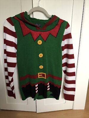 Next Hooded Xmas Jumper Elf Size 10 Ladies Or Age 12 Kids Excellent Condition