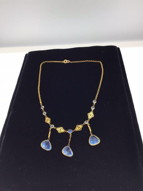 Antique Edwardian French Aquamarine Paste Glass Necklace Signed Dore Au Mercure
