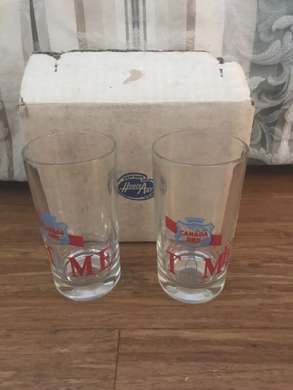 "Vintage CANADA DRY ""Time"" 8oz Glass- (2)"