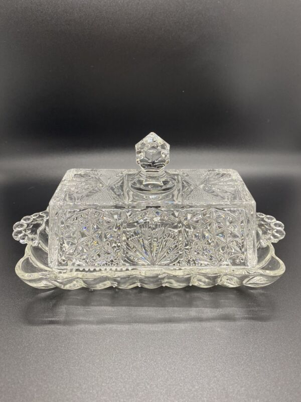Vintage Heavy Crystal Butter Dish With Lid Etched