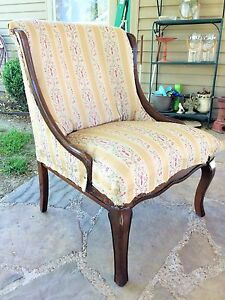 Vintage Louis XV French Slipper Chair Needs TLC Custom Reupholstery Option