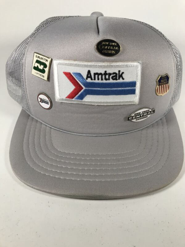 Vintage Amtrak Patch Hat with Railroad Pins