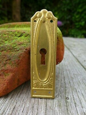 Vintage brass tin plate with keyhole escutcheons project furniture cupboard G-12