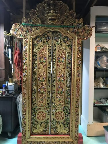 """Huge Balinese Temple Wood Carved Doorway Traditional Barong 8'-6"""" Tall"""