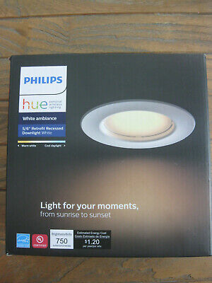 """Phillips Hue 5/6"""" Retrofit Recessed Downlight White Ambiance"""