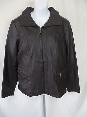East 5th Womens Size L Genuine Leather Jacket Lined Brown Coat EC