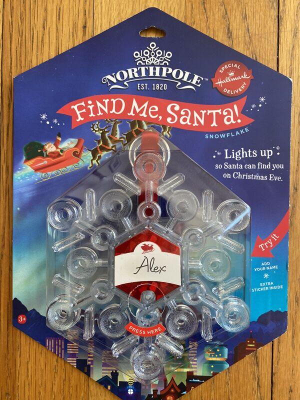 Hallmark Northpole FIND ME SANTA! Light Up Snowflake Christmas OrnamentAs Is