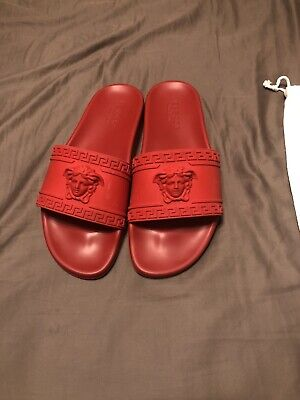 Versace Men's Red Palazzo Medusa Pool Slides Sandals Shoes Size 10