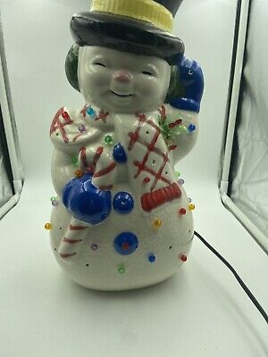 "Vintage Ceramic Snowman Lights Up 14"" Mold Christmas Lamp Night Missing Lenses"