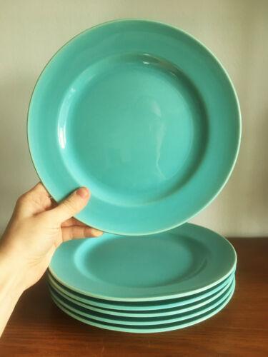"""(6) 1930s Gladding McBean GMcB Franciscan """"El Patio"""" Aqua Green Lunch Plates"""