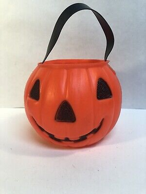 Vtg AJ Renzi Blowmold 2 Sided Pumpkin Flying Witch Trick Or Treat Pail Bucket